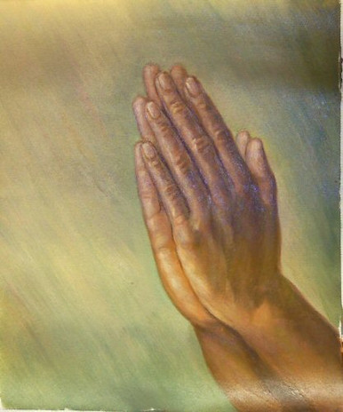HANDS PRAYING smallest OIL PAINTING