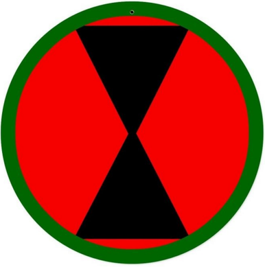 Photo of 7th Infantry Division PATCH SIGN, ON HEAVY METAL HAS HOLE(S) FOR EASY INSTALLATION. THIS SIGN HAS RICH COLORS AND GREAT DETAIL.  WE HAVEONE LEFT IN STOCK, NO LONGER AVAILABLE