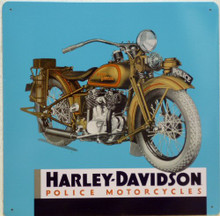 HARLEY 1ST POLICE MOTOR CYCLE MOTORCYCLE SIGN, THIS BIKE WAS INTRODUCED AS THE SAFETY BIKE INCLUDED A FIRE EXTINGUSHER ON SOME MODELS