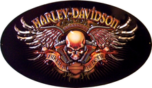 HARLEY BIKER TO THE BONE DIE-CUT & EMBOSSED MOTORCYCLE SIGN, GREAT DETAILED EMBOSSING, DEEP RICH COLOR