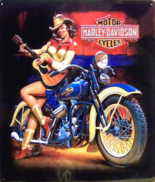 HARLEY COUNTRY GIRL EMBOSSED MOTORCYCLE SIGN, EMBOSSING, COLOR AND DETAILS ARE ALL PERFECT