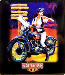 HARLEY CROSSROADS BABE EMBOSSED MOTORCYCLE SIGN, NICE EMBOSSING, GREAT COLOR AND DETAILS