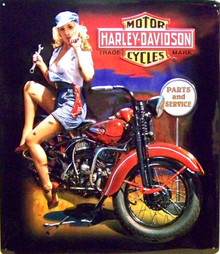 HARLEY FIXER UP BABE (EMBOSSED)  MOTORCYCLE SIGN, GREAT EMBOSSING, SUPER COLOR, RICH DETAILS