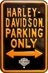 HARLEY PARKING ONLY EMBOSSED MOTORCYCLE SIGN