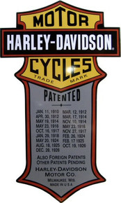 HARLEY PATENTS DIE & CUT EMBOSSED MOTORCYCLE SIGN
