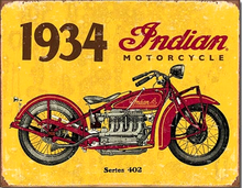 INDIAN 1934 RETRO MOTORCYCLE SIGN