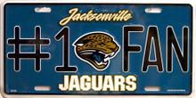 JACKSONVILLE JAGUARS FOOTBALL # 1 FAN LICENSE PLATE