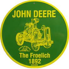 JOHN DEERE FROELICH  VINTAGE ROUND TRACTOR SIGN