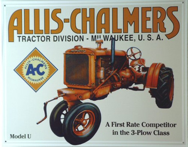 ALLIS CHALMERS MODEL U  TRACTOR SIGN, GREAT FOR THE ALLIC CHALMERS FAN'S COLLECTON