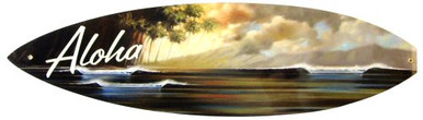 "Photo of ALOHA ""SURFBOARD"" SHAPED SIGN WITH BEAUTIFUL SUNSET OVER THE WAVES, ENAMEL FINISH HAS DEEP RICH COLORS"