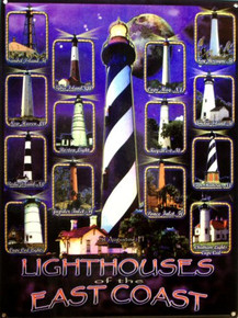 LIGHT HOUSES, EAST COAST ENAMEL SIGN