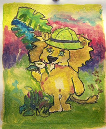 LION WITH HAT smallest OIL PAINTING