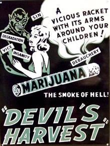 MARIJUANA  DEVIL'S WEED ENAMEL SIGN