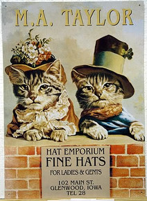 M.A. TAYLOR HATS CATS IN HATS SIGN