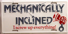 MECHANICALLY INCLINED LICENSE PLATE