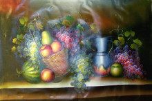 MELLON, FRUIT BASKET, PITCHER OIL PAINTING
