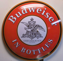"""DOMED METAL SIGN MEASURES APOX. 16"""" DIAMETER BY 2 3/4"""" DEEP WITH HOLE FOR EASY MOUNTING"""
