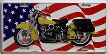 MOTORCYCLE W/FLAG LICENSE PLATE