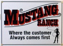 FORD MUSTANG RANCH PORCELAIN SIGN