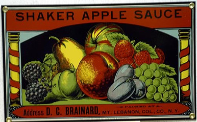 Photo of APPLESAUCE ADVERTISEMENT ON A HEAVY STEEL PLATE, HAS EXCEPTIONAL COLOR AND ATTENTION TO DETAIL