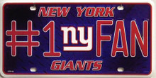Photo of NEW YORK GIANTS FOOTBALL #1 FAN EMBOSSED LICENSE PLATE