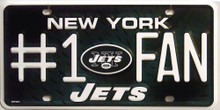 Photo of NEW YORK JETS FOOTBALL #1 FAN EMBOSSED LICENSE PLATE