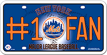 Photo of NEW YORK METS BASEBALL  #1 FAN EMBOSSED LICENSE PLATE