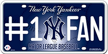 Photo of NEW YORK YANKEE BASEBALL #1 FAN EMBOSSED LICENSE PLATE