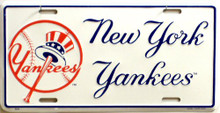 Photo of NEW YORK YANKEES BASEBALL W/HAT LICENSE PLATE