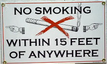 NO SMOKING ANYWHERE PORCELAIN SIGN