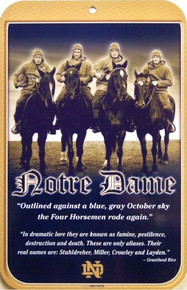 NOTRE DAME 4 HORSEMAN COLLEGE SIGN