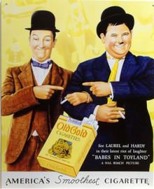 OLD GOLD LAUREL & HARDEY CIGARETTE AD SIGN