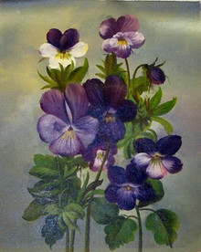 PANSIES, PURPLE OIL PAINTING