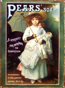 PEARS SOAP VICTORIAN GIRL W/DOLL ENAMEL SIGN