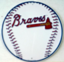 Photo of ATLANTA BRAVES BASEBALL SIGN, ROUND METAL