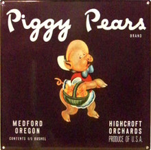 PIGGY PEARS ENAMEL ADVERTISEMENT SIGN