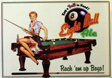 POOL, EIGHT BALL ALE BEER SIGN