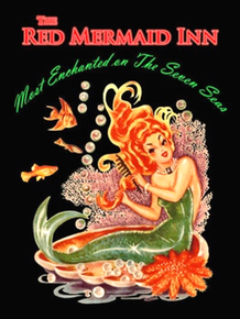 RED MERMAID INN ENAMEL SIGN