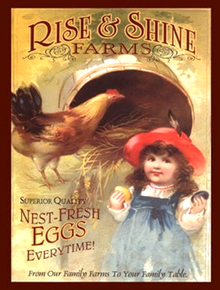 RISE AND SHINE EGGS ENAMEL SIGN