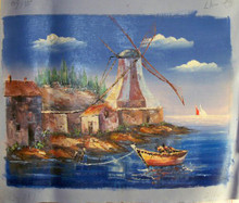 ROW BOATS BY WINDMILLS small OILPAINTING