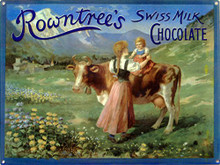 ROWNTREES SWISS CHOCOLATE VINTAGE ENAMEL SIGN HAS A BEAUTIFUL ENAMEL FINISH ON HEAVY METAL WITH GREAT COLORS AND ATTENTION TO DETAIL.