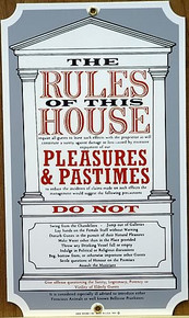 RULES OF THE HOUSE PORCELAIN SIGN