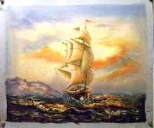 SAILING SHIP AT SUNSET medium OIL PAINTING