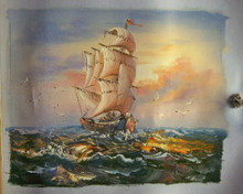 SAILING SHIP AT SUNSET small OIL PAINTING
