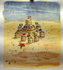 SAND CASTLE smallest OIL PAINTING