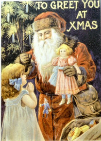 SANTA  & GIRL W/DOLL CHRISTMAS SIGN