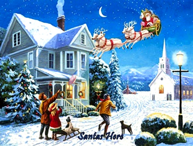 SANTA'S HERE ENAMEL CHRISTMAS SIGN