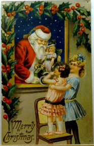 SANTA @ WINDOW W/GIRLS CHRISTMAS SIGN
