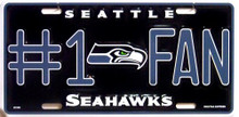 SEATTLE SEAHAWKS FOOTBALL  #1 FAN LICENSE PLATE