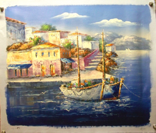 SEA VIEW SAILING BOAT medium large OIL PAINTING